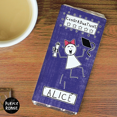Personalised Purple Ronnie Female Graduation Milk Chocolates Bar