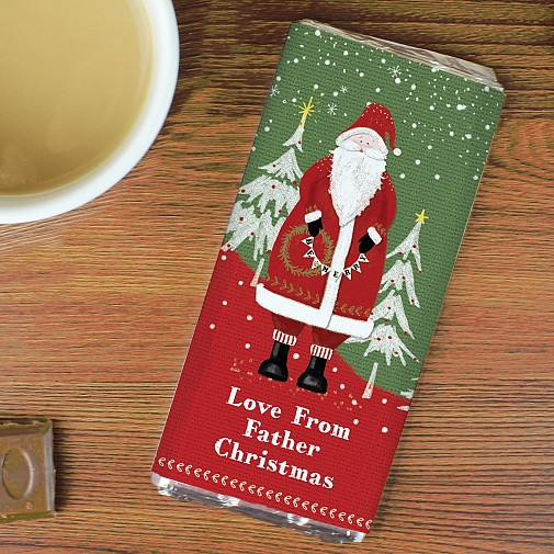 Personalised Father Christmas Milk Chocolates Bar