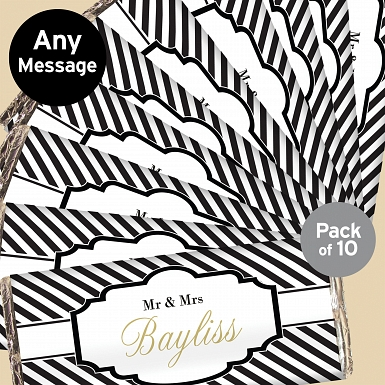 Personalised Art Deco Striped Pack of 10 Milk Chocolates Bars