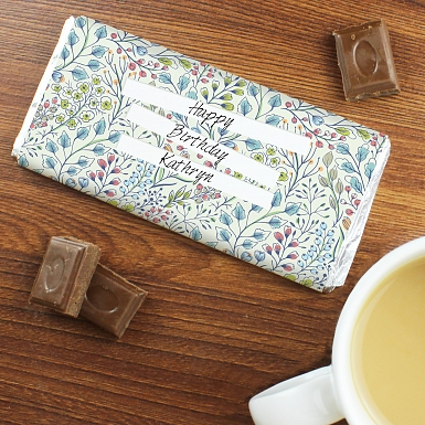 Personalised Botanical Milk Chocolates Bar