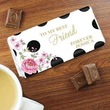 Personalised Floral Dot Milk Chocolates Bar