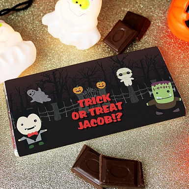 Personalised Halloween Milk Chocolates Bar