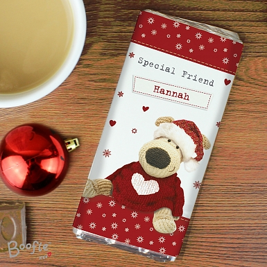 Personalised Boofle Christmas Love Chocolates Bar