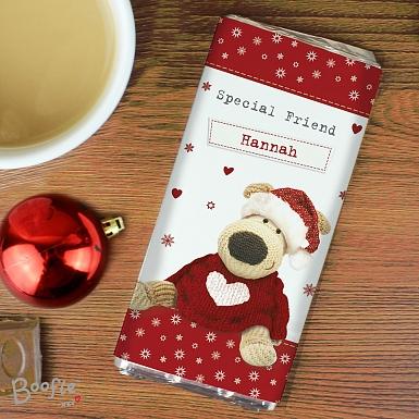 Personalised Boofle Christmas Love Chocolates Bar