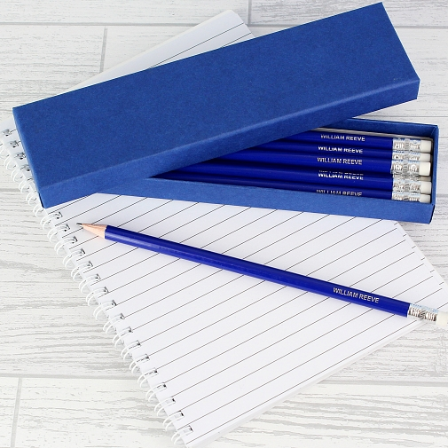 Personalised Box of Blue Pencils