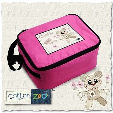 Personalised Cotton Zoo Girls Tweed the Bear Lunch Bag