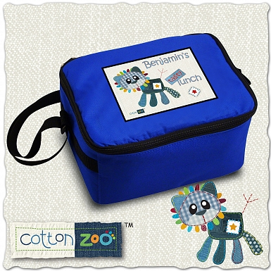 Personalised Cotton Zoo Denim the Lion Lunch Bag