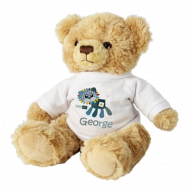 Personalised Cotton Zoo Denim the Lion Teddy