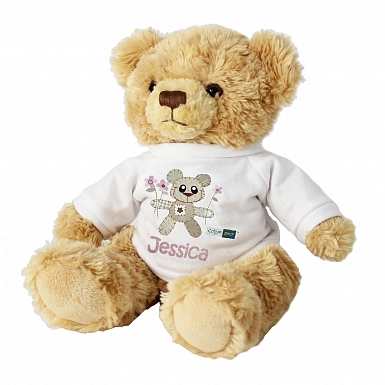 Personalised Cotton Zoo Tweed the Bear Girls Teddy