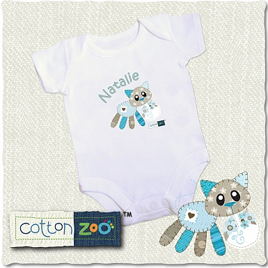 Personalised Cotton Zoo Calico the Kitten 0-3 Months Baby Vest