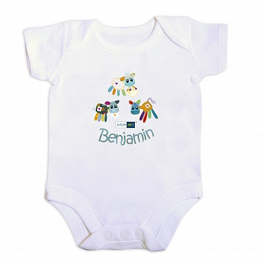Personalised Cotton Zoo Boys Farmyard 0-3 Months Baby Vest