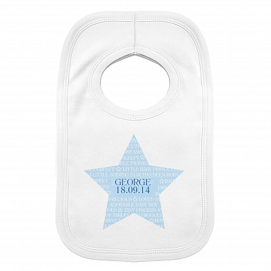 Personalised Shining Star 0-3 Months Baby Bib