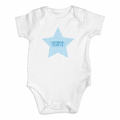 Personalised Shining Star 0-3 Months Baby Vest