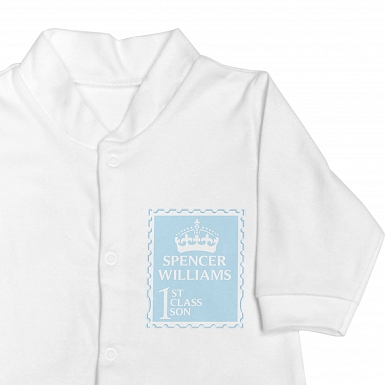 Personalised Blue 1st Class 0-3 Months Babygrow