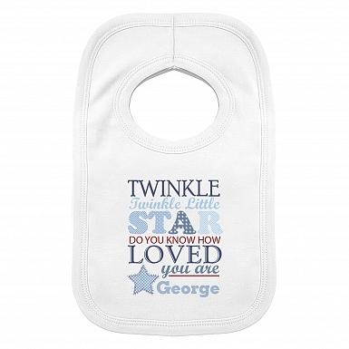 Personalised Twinkle Boys 0-3 Months Baby Bib