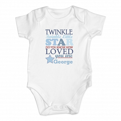 Personalised Twinkle Boys 0-3 Months Baby Vest