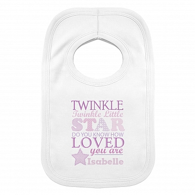 Personalised Twinkle Girls 0-3 Months Baby Bib