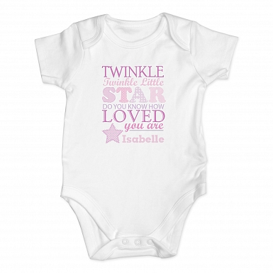 Personalised Twinkle Girls 0-3 Months Baby Vest