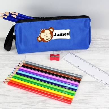 Blue Monkey Pencil Case with Personalised Pencils & Crayons