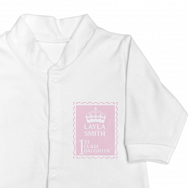 Personalised Pink 1st Class 6-9 Months Babygrow