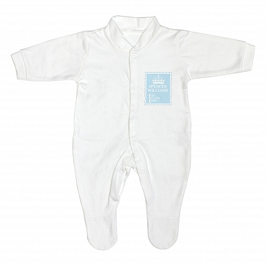 Personalised Blue 1st Class 3-6 Months Babygrow
