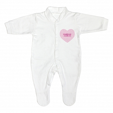 Personalised Sweet Heart 6-9 Months Babygrow