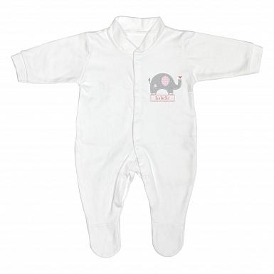 Personalised Pink Elephant 6-9 Months Babygrow