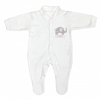 Personalised Pink Elephant 12-18 Months Babygrow