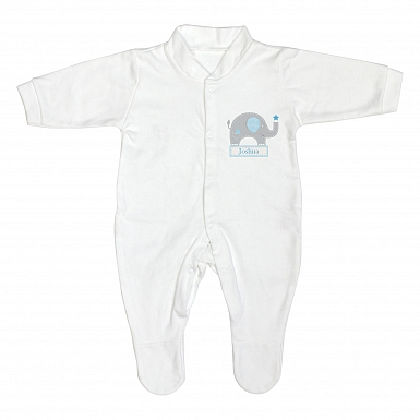 Personalised Blue Elephant 9-12 Months Babygrow