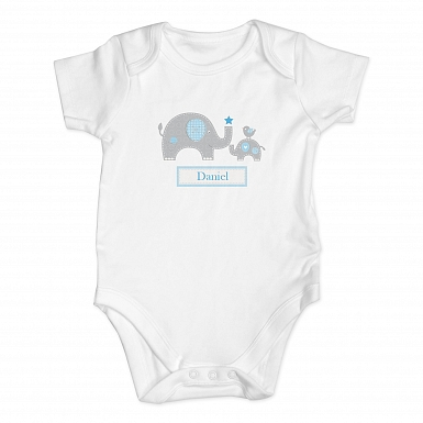 Personalised Blue Elephant 3-6 Months Baby Vest