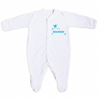 Personalised Little Prince Blue 12-18 Months Babygrow