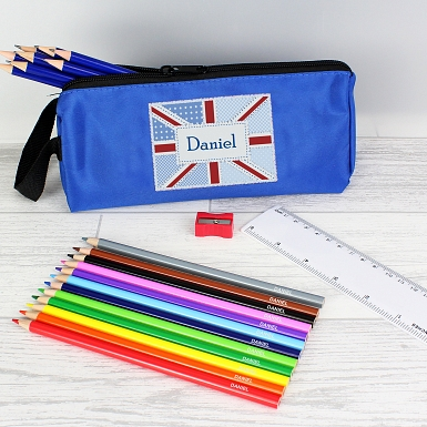 Blue Patchwork Union Jack Pencil Case with Personalised Pencils & Crayons