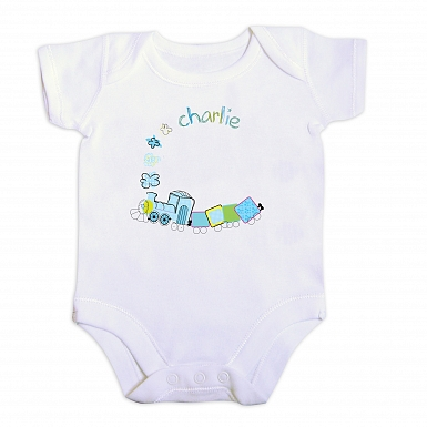Personalised Patchwork Train 6-9 Months Baby Vest