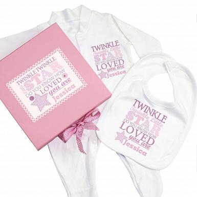 Personalised Twinkle Girls Pink Gift Set - Babygrow & Bib