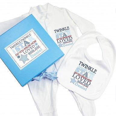 Personalised Twinkle Boys Blue Gift Set - Babygrow & Bib