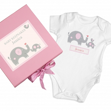 Personalised Pink Baby Elephant Gift Set - Baby Vest