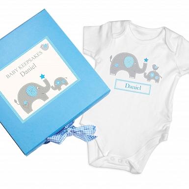 Personalised Blue Baby Elephant Gift Set - Baby Vest