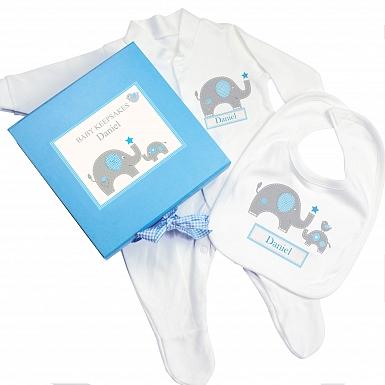 Personalised Blue Baby Elephant Gift Set - Babygrow & Bib