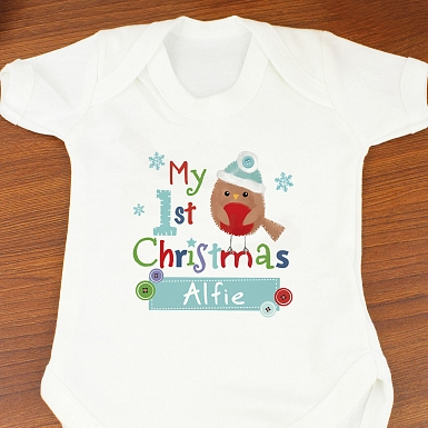 Personalised Felt Stitch Robin 'My 1st Baby Christmas' Baby Vest