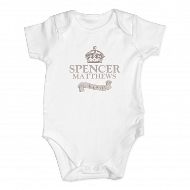 Personalised Royal Crown Baby Vest