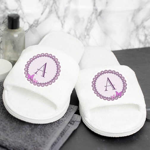 Personalised Butterfly Initial Velour Slippers