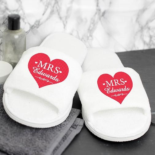 Personalised Mrs Velour Slippers