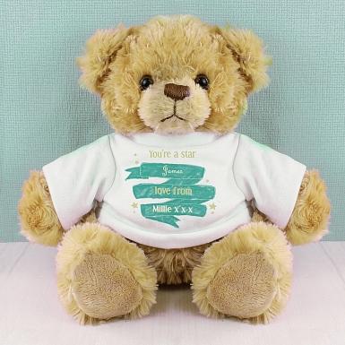 Personalised Shining Star T-Shirt Message Bear