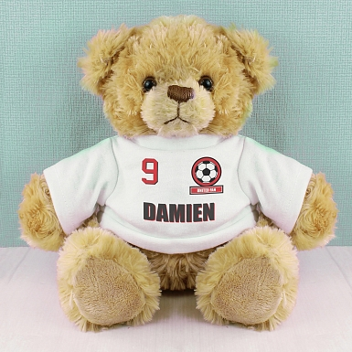 Personalised Red Football Fan T-Shirt Message Bear