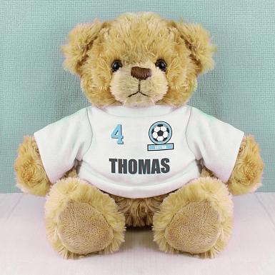 Personalised Sky Blue Football Fan T-Shirt Message Bear
