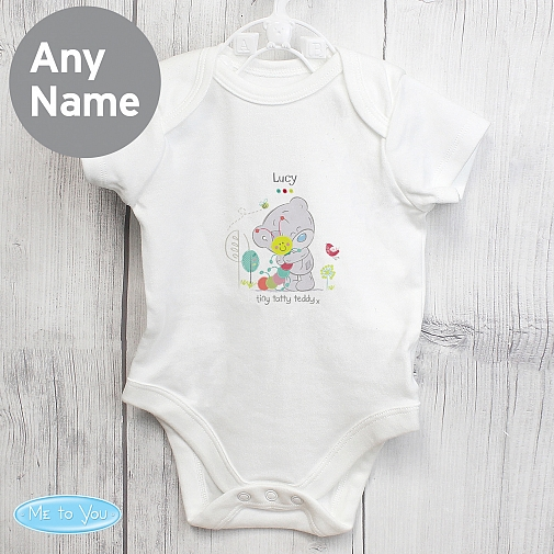 Personalised Tiny Tatty Teddy Cuddle Bug 0-3 Months Baby Vest