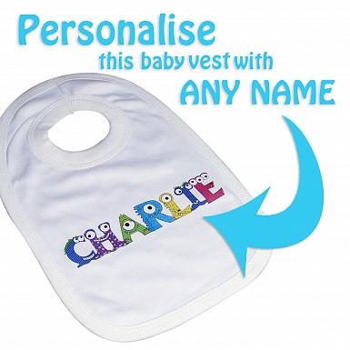 Personalised Monster Alphabet Baby Bib