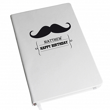 Personalised Moustache Hardback A5 Notebook