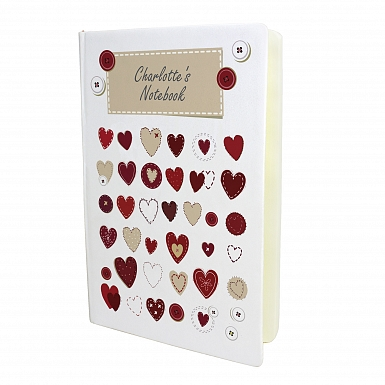 Personalised Fabric Hearts Hardback A5 Notebook