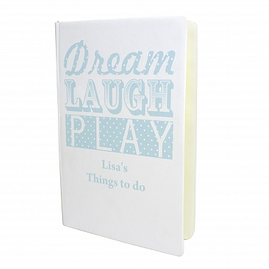 Personalised Dream Laugh Play Blue Hardback A5 Notebook